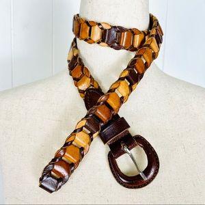 Indian Full Grain Leather Multicolored Link Belt